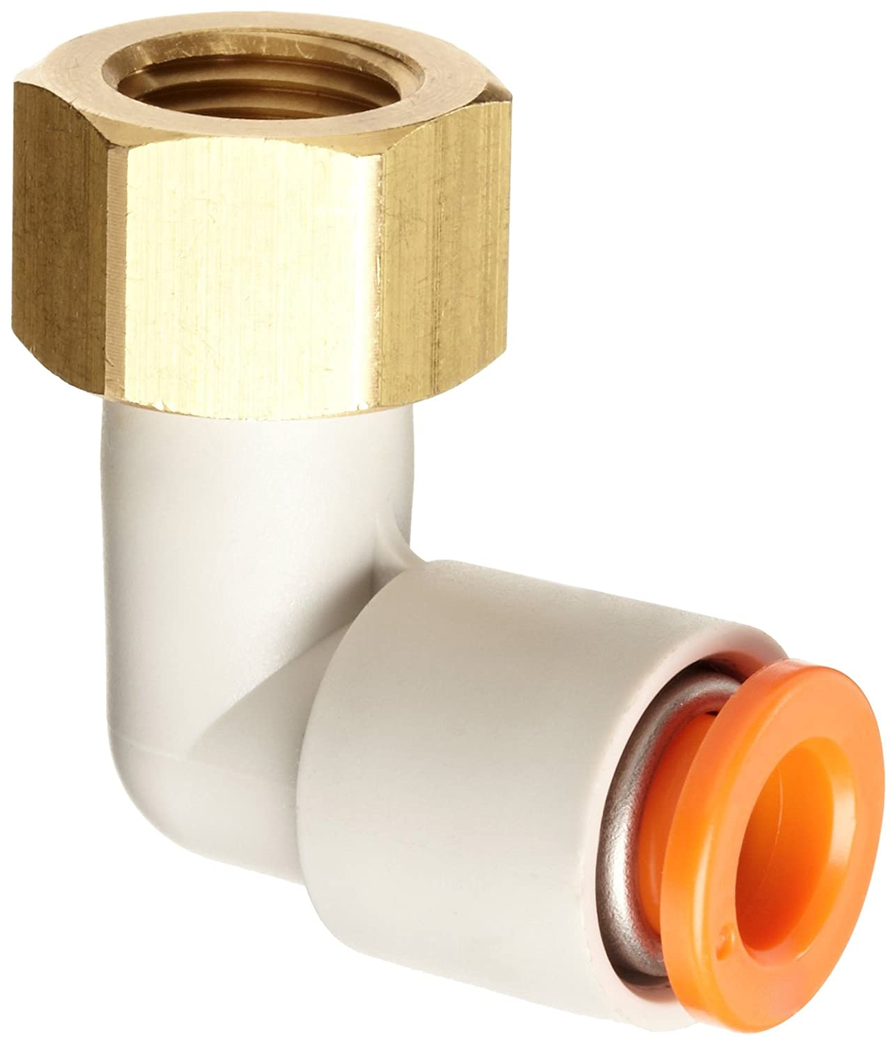 90 Degree Elbow 1//4 Tube OD x 10-32 UNF Male SMC KQ2L07-32A PBT /& Brass Push-to-Connect Tube Fitting