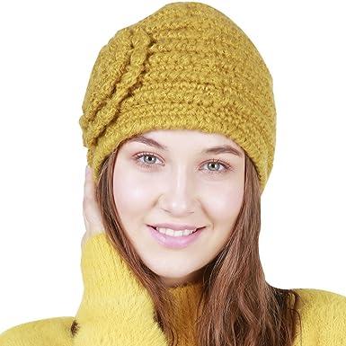 BOZEVON Crochet Invierno Beanie Gorro de Punto Caliente Cozy ...