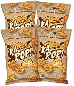 Ka-Pop! Popped Chips, Vegan Cheddar (3.25oz, Pack of 4) - Allergen Friendly, Ancient Grains, Gluten-Free, Paleo, Non-GMO, Healthy, Whole Grain Snacks, As Seen on Shark Tank