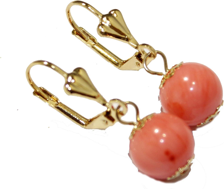 Pendientes de bola de coral de 10 mm, chapados en oro de 18 quilates, cierre francés