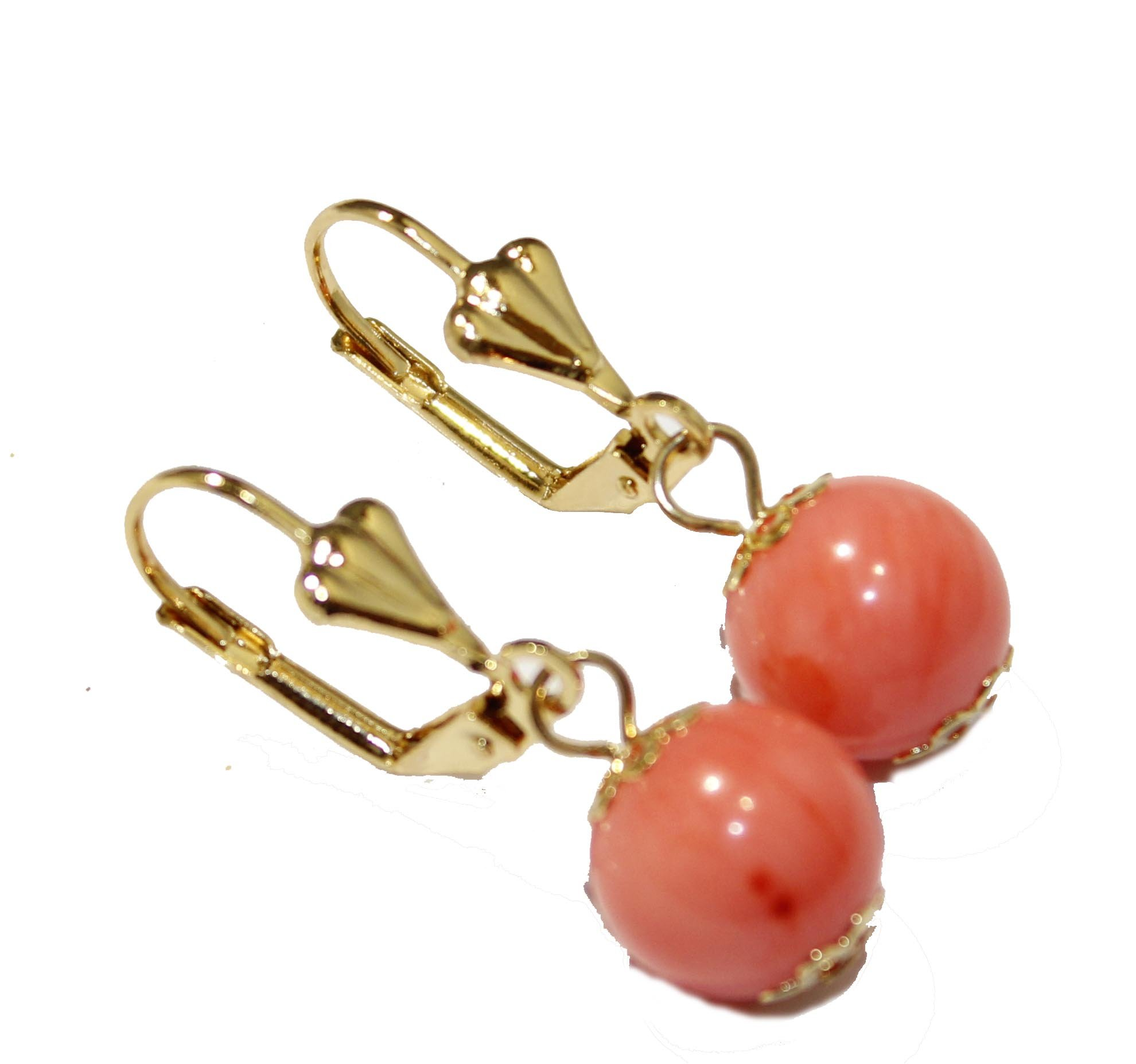 Coral 12mm Ball Earrings 18k Gold Plated Earrings Dangle Earrings - French Clasp