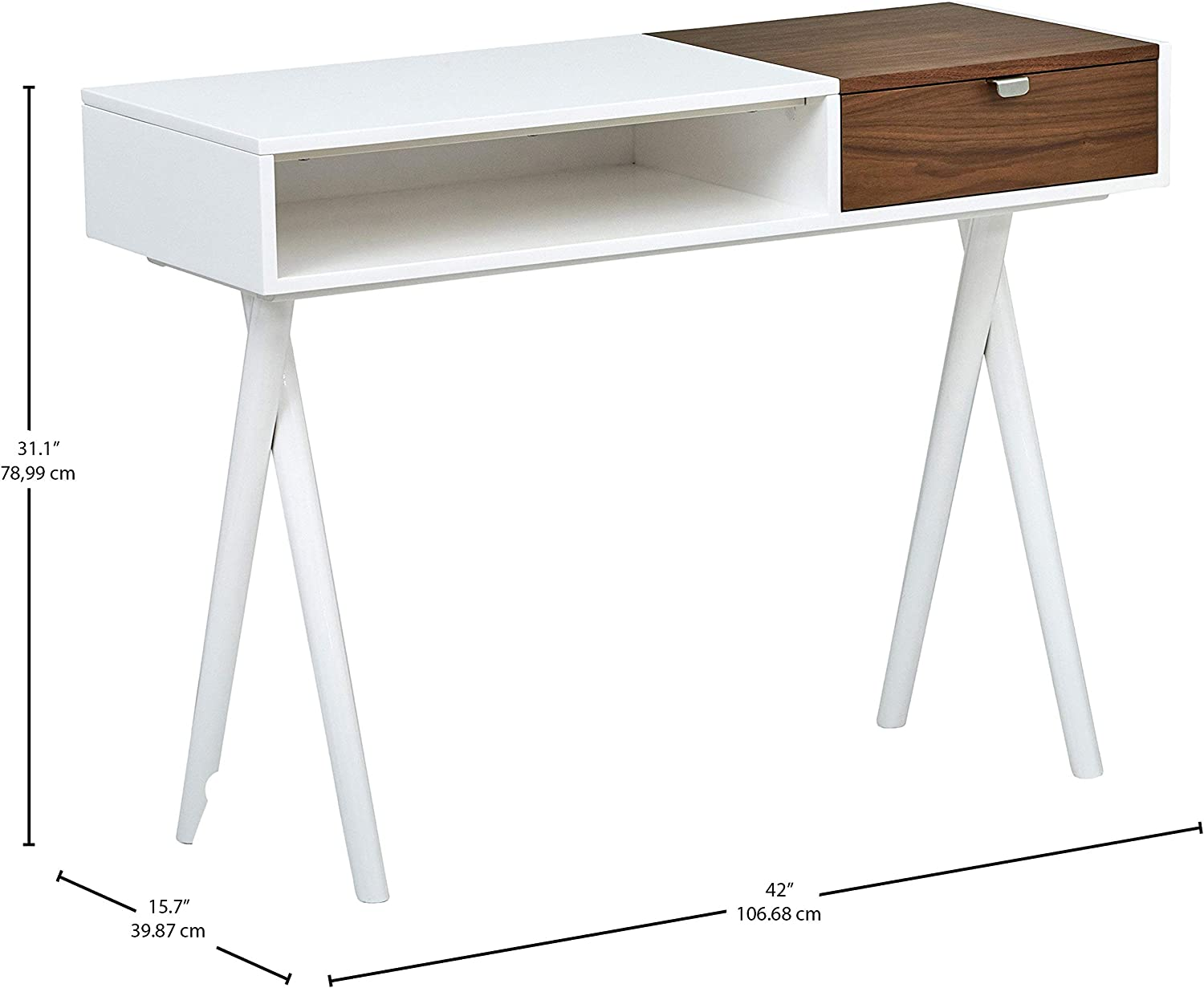Marca Amazon - Rivet - Escritorio de madera lacado en blanco con ...