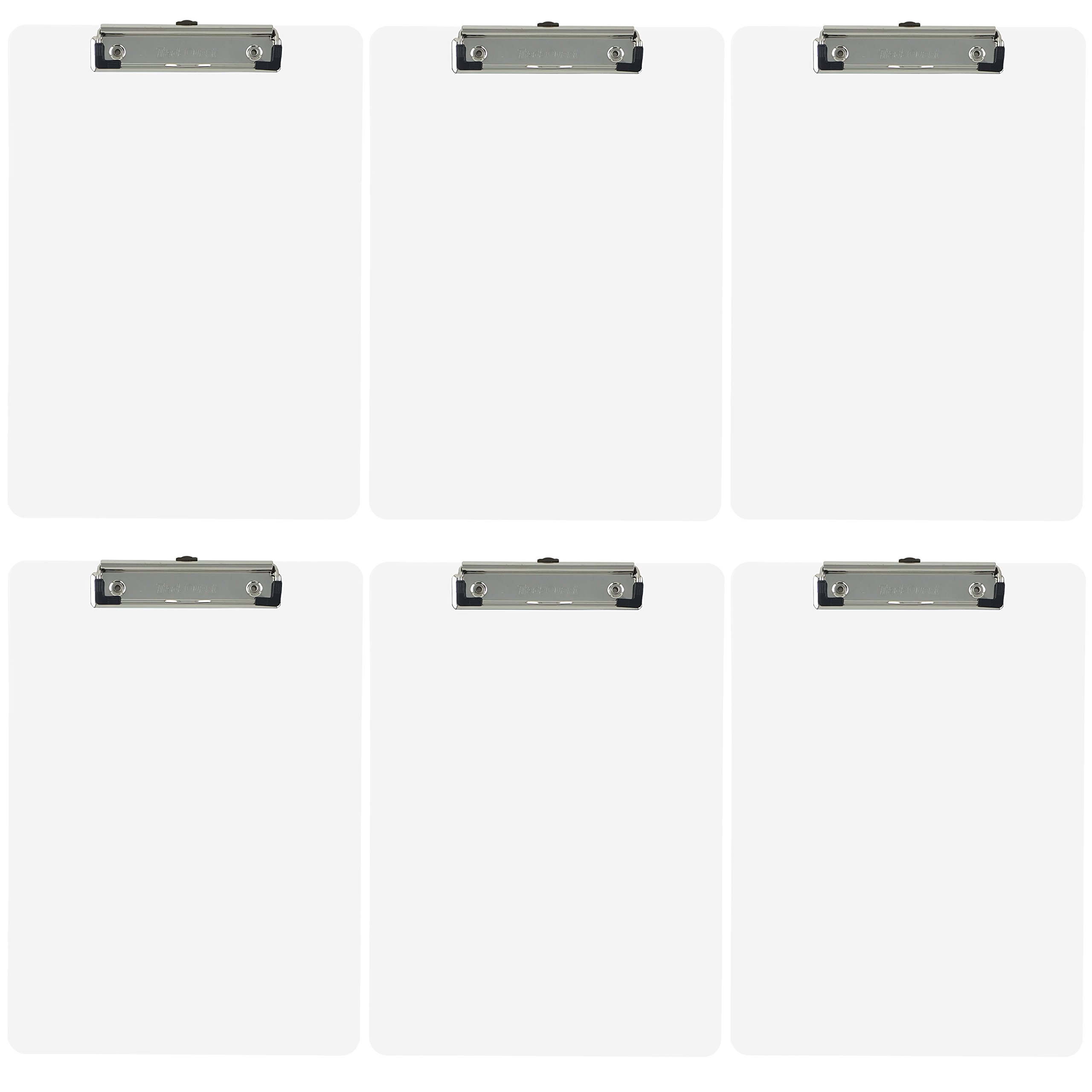 Trade Quest Plastic Clipboard Opaque Color Letter Size Low Profile Clip (Pack of 6) (White)