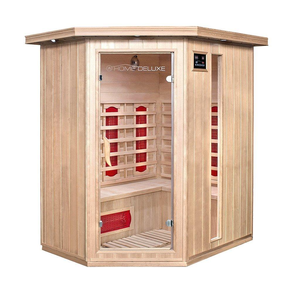 HOME DELUXE 'REDSUN XL' Indoor Movable Wooden Infrared IR Sauna Spa Cabin Room Hemlock Pine Wood Infrared Sauna Spa Cabin Home Deluxe GmbH REDSUN-XL