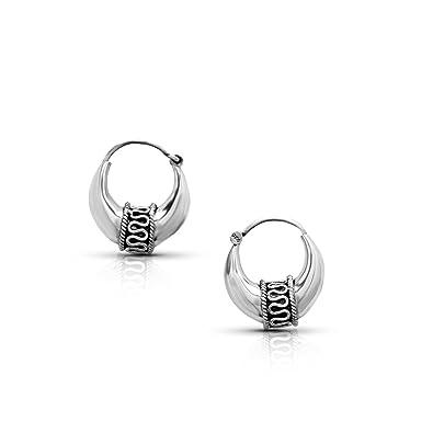 547820d45 Amazon.com: Sterling Silver Ethnic Hoop Earrings Tribal Gipsy Boho Chic:  Jewelry