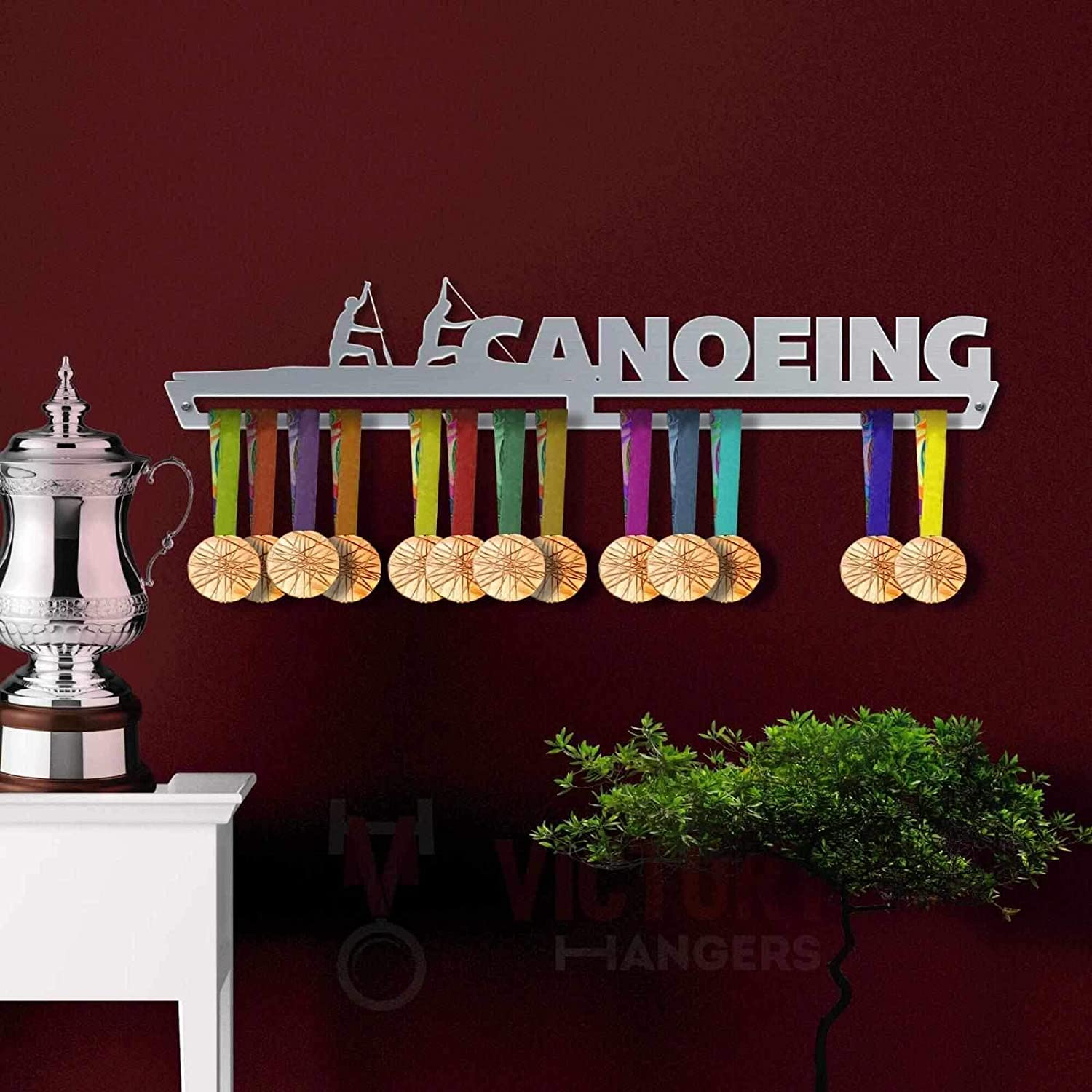 VICTORY HANGERS Canoeing Medal Hanger Display The Best Gift for Champions ! Sports Medal Holders by VictoryHangers Stainless Steel Medal Display