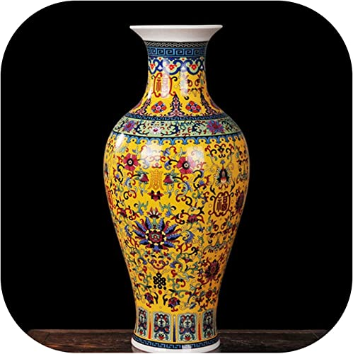 Luxury Antique Porcelain Enamel Fish Tail Shape Vase Classical Decoration Large Chinese Vases Ancient Palace Vases,Yellow longevityvase