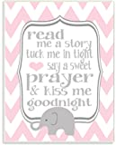 The Kids Room by Stupell Art Wall Plaque, Read Me A Story/Elephant In Pink Chevron, 11 x 0.5 x 15, Proudly Made in USA