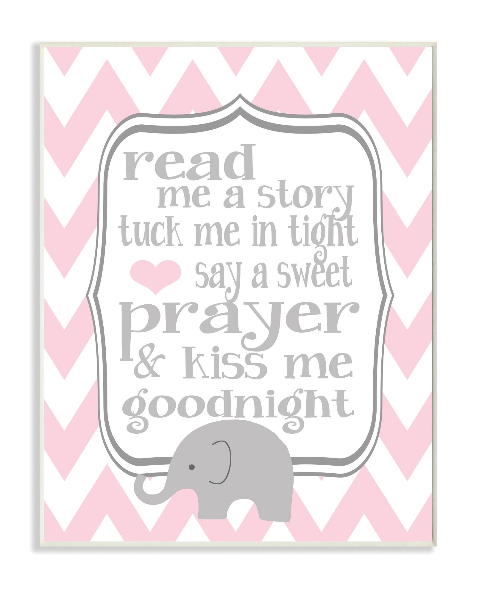 The Kids Room by Stupell Art Wall Plaque, Read Me A Story/Elephant in Pink Chevron, 11 x 0.5 x 15, Proudly Made in USA by The Kids Room by Stupell
