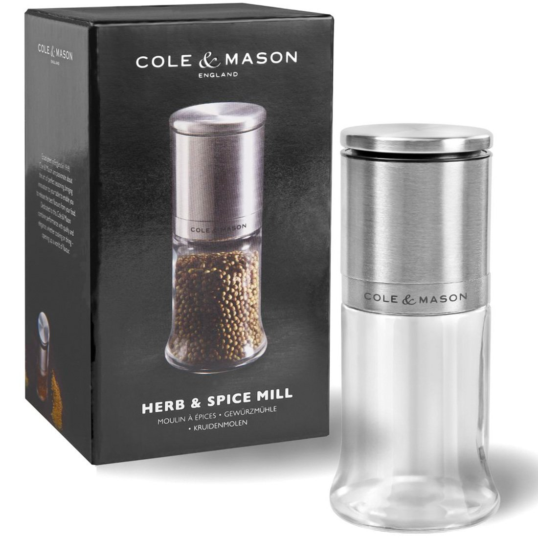 Silver Cole /& Mason H101049 Kingsley macina per spezie Vetro