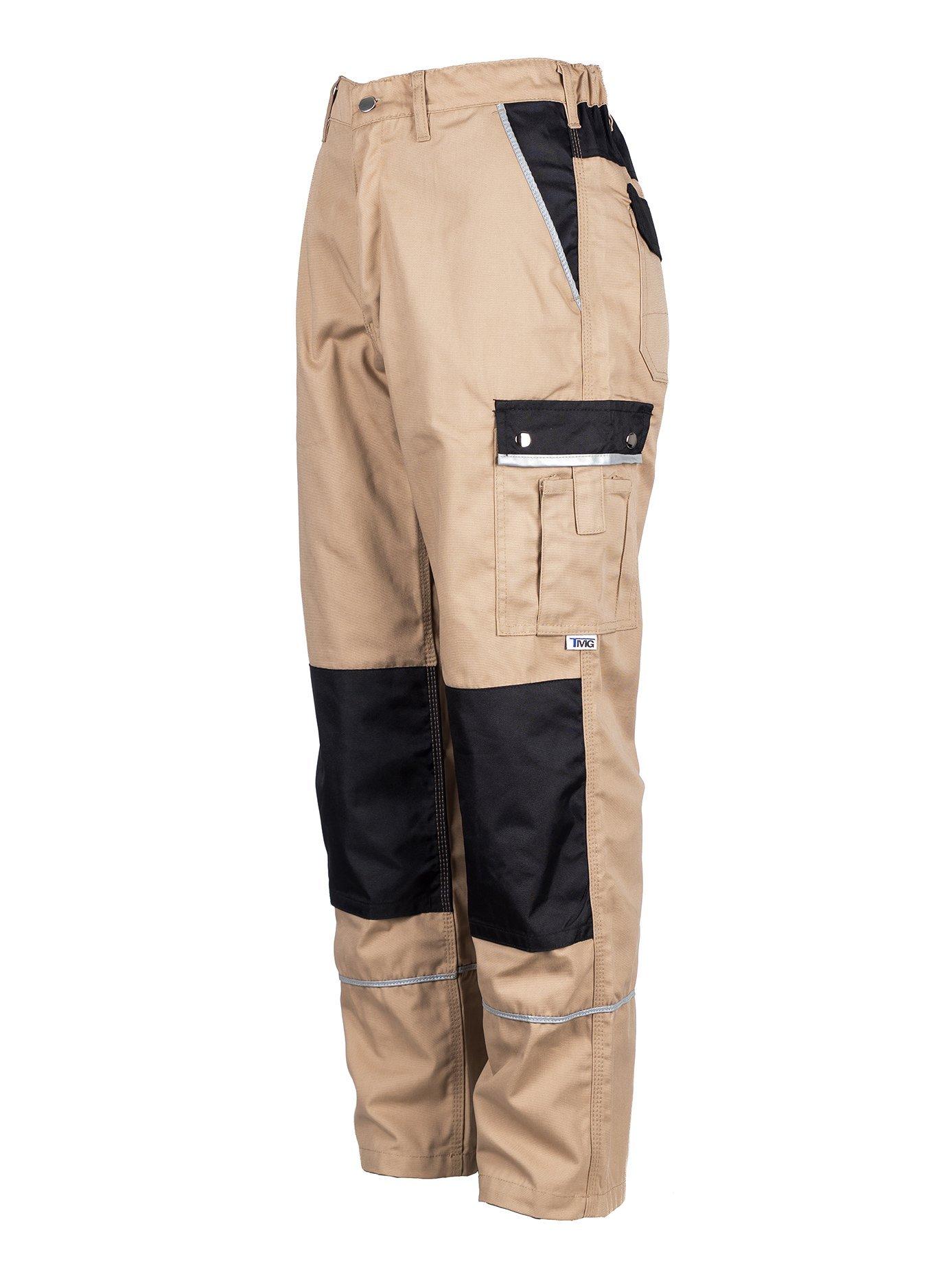 TMG Heavy Duty Cargo Work Trousers with Knee Pads Pockets 46 Beige