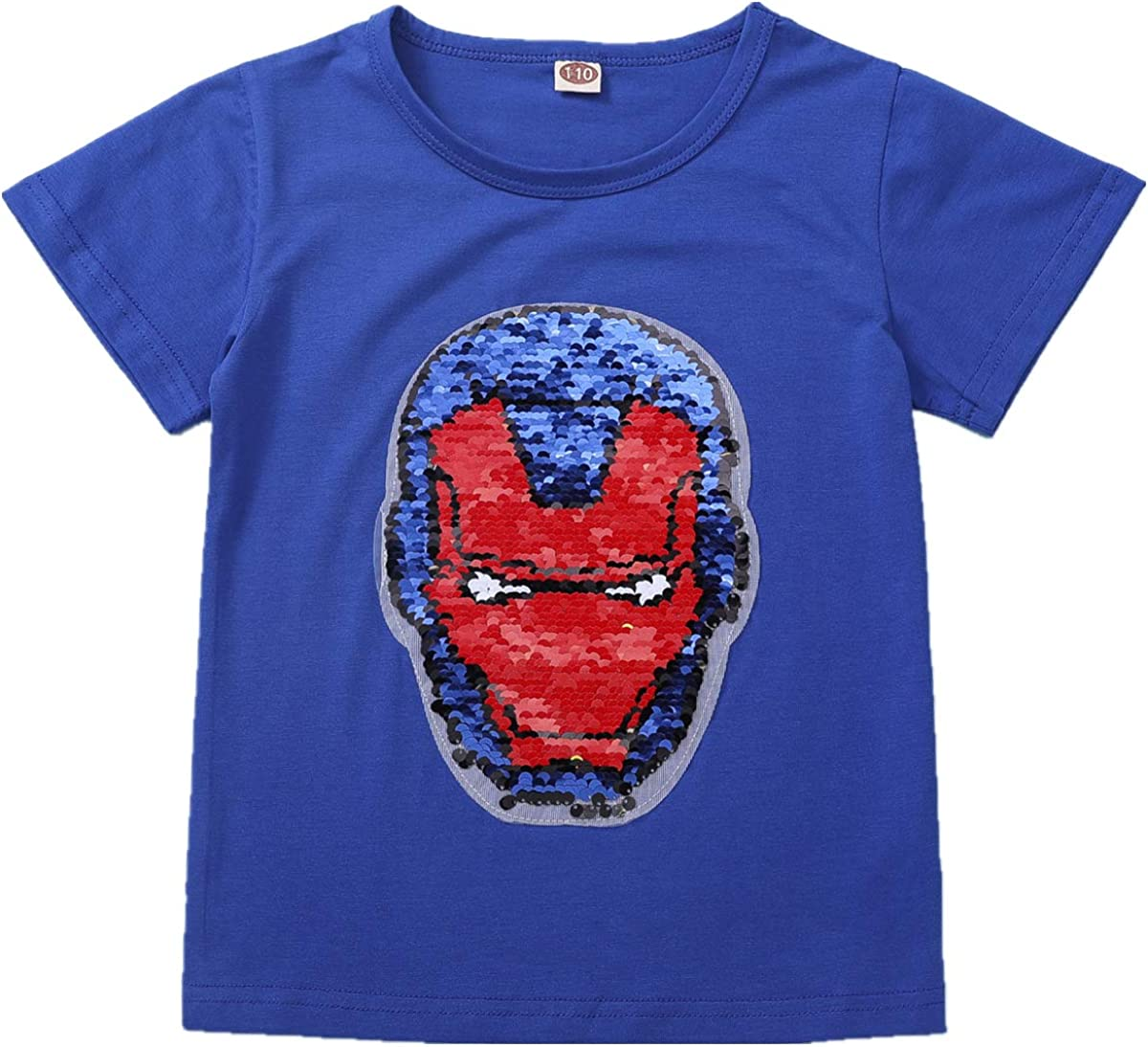 110-150 cm i pass Boy Girl Superhero T-Shirt Reversible Sequins Magic Cotton T-Shirt 3-8 Years