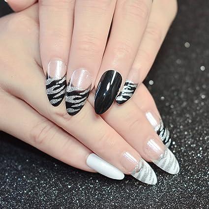 echiq 24pcs Blanco Negro Patrón de cebra Stiletto francés uñas postizas Tips Transparente con plata purpurina