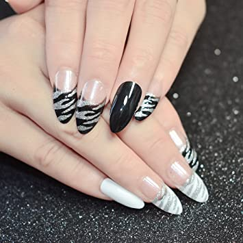Amazon.com : CoolNail 24pcs White Black Zebra Pattern Stiletto French False Nails Tips Clear with Silver Glitter Sharp Fake Nail Arts Party Decoration : ...