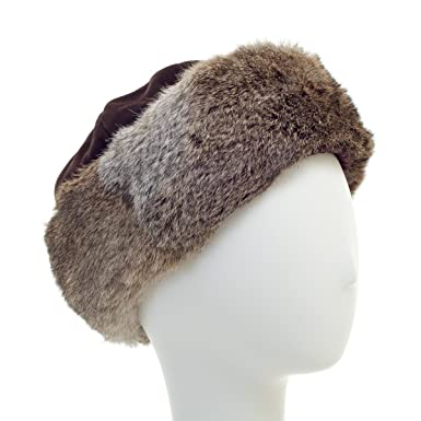 Image Unavailable. Image not available for. Color  surell Long Hair Rabbit  Cuff with Suede Crown Russian Trapper Hat - Bridal Wedding Attire Brown 1c5834d75e81