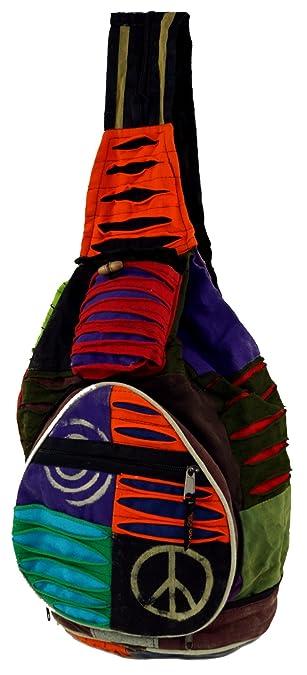 Guru-Shop Mochila Hippie, Patchwork Mochila Nepal, Unisex - Adultos, Multicolor, Algodón, Tamaño:One Size, 35x23x23 cm, Mochilas y Bolsa de Deporte: ...