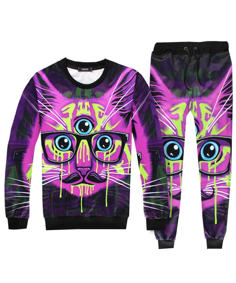 Mimi pope Unisex Casual Long Sleeve 3D Glasses Cat Print 2PCS Sweatshirt Sweatpants Jacket