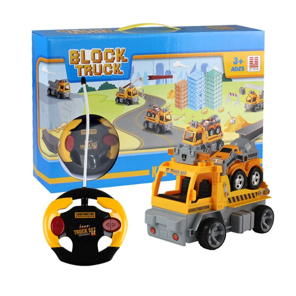 Gbell 1:18 Car Large Building Block RC Trailer,3D Vehicle Puzzle Educational Toy for Kids Boys 8+ (Yellow) by Gbell (Image #8)