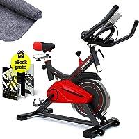 Sportstech Profi Indoor Cycle SX100 mit 13KG Schwungrad, Gepolsterter Armauflage, Komfortsattel, Pulsmessung - Speedbike mit flüsterleisem Riemenantrieb – inklusive gratis Bodenschutzmatte & eBook