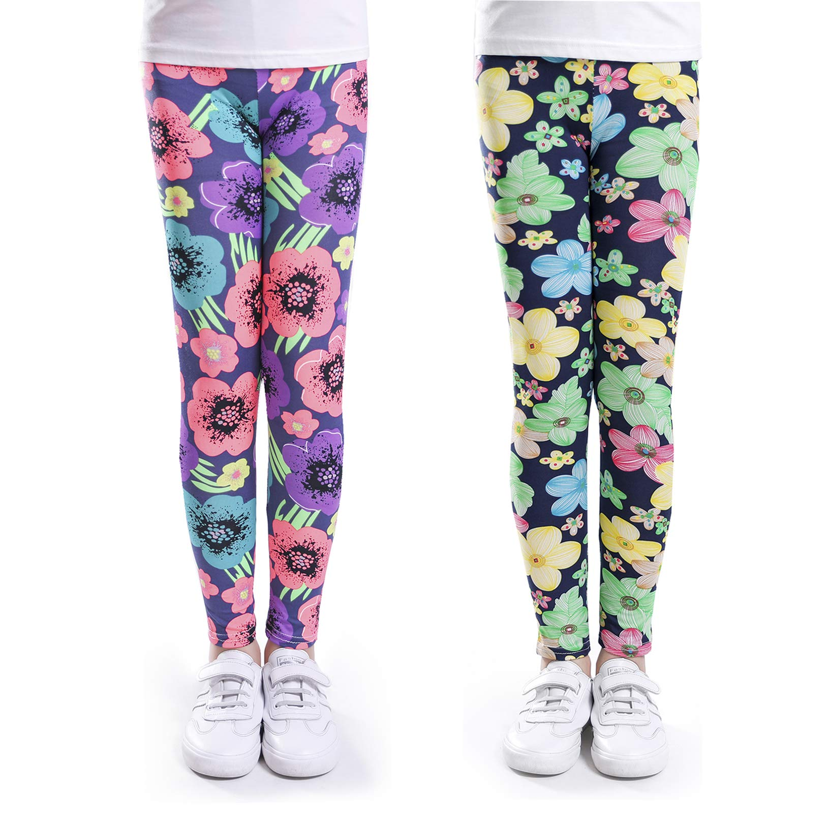 ZukoCert Stretchy Girls Leggings Tights Colorful Pattern Kids Pants 4-13 Years(C1_65#)