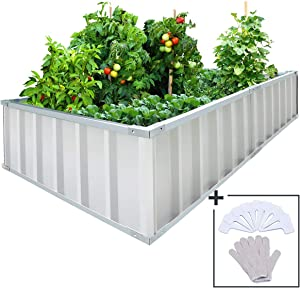 """KING BIRD Extra-Thick 2-Ply Reinforced Card Frame Raised Garden Bed Galvanized Steel Metal Planter Kit Box Green 68""""x 36""""x 12"""" with 8pcs T-Types Tag & 1 Pair of Gloves Ivory, 17 Cu. Ft."""