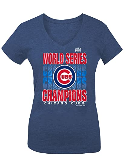 5411f60d258 Chicago Cubs Women s 2016 World Series Champs Blue Shining V-neck T-shirt  Small