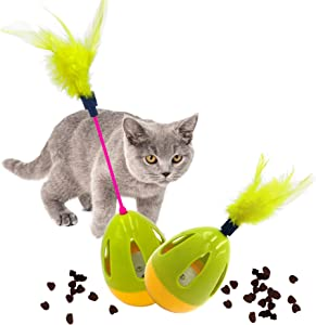 Xqpetlihai Cat Toys Cat Feather Toys Indoor Interactive Cat Toys Wand with Feather Multifunction Spinning Tumbler Slow Feeder Food Dispenser Ball Treat Toy