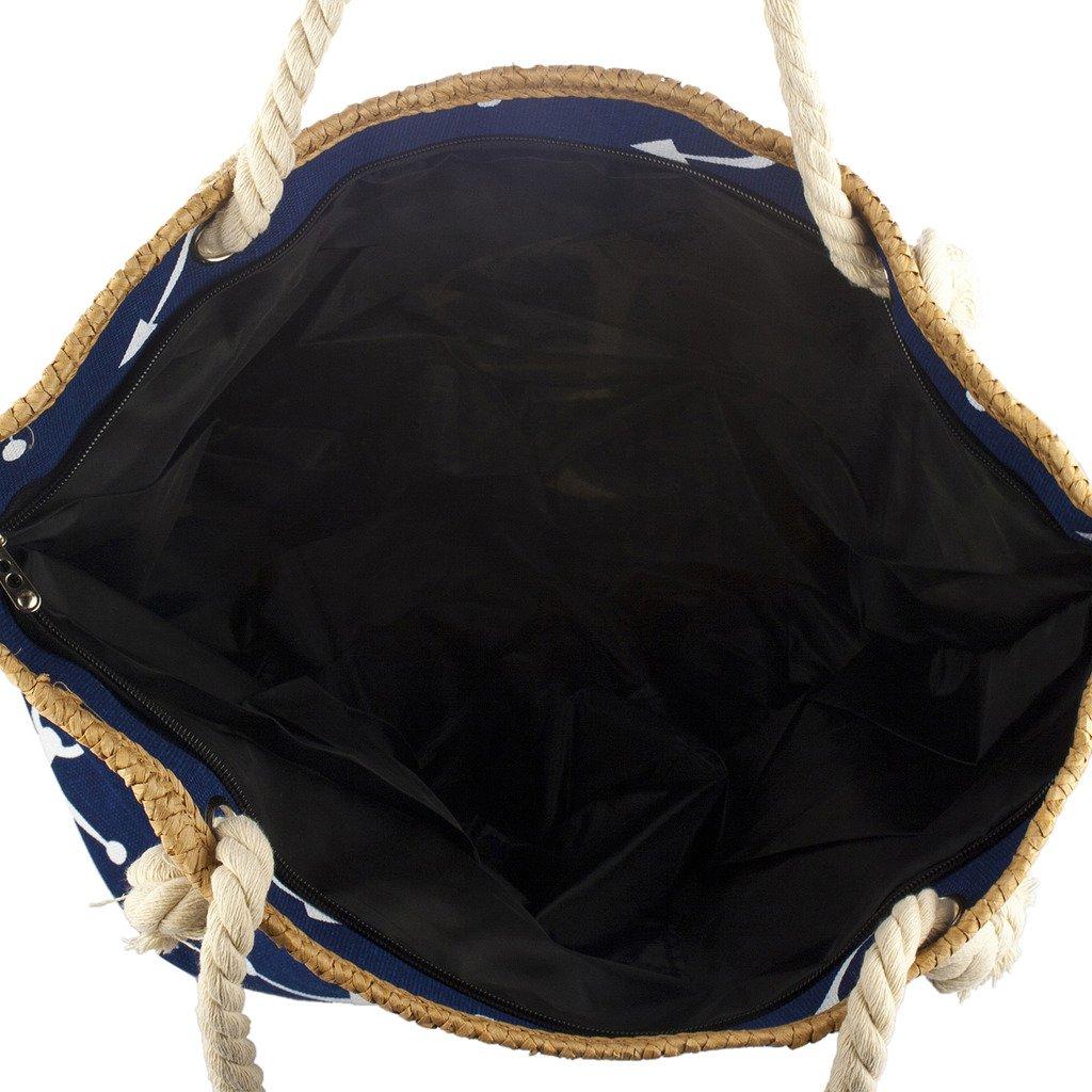 Lux Accessories Lux Accessories Womens Zip up Beach Bag Turk Anchor BG240753-3-BG16