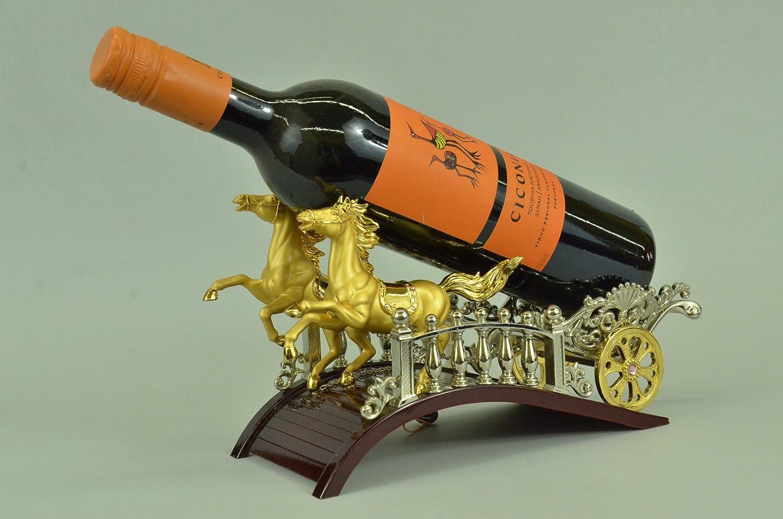 手作りのブロンズ彫刻像24Kレアルゴールドメッキゴールデンチャリオット馬ワインホルダー図-UKsho-661-インテリアグッズギフト 送料無料 B074SYLSTV