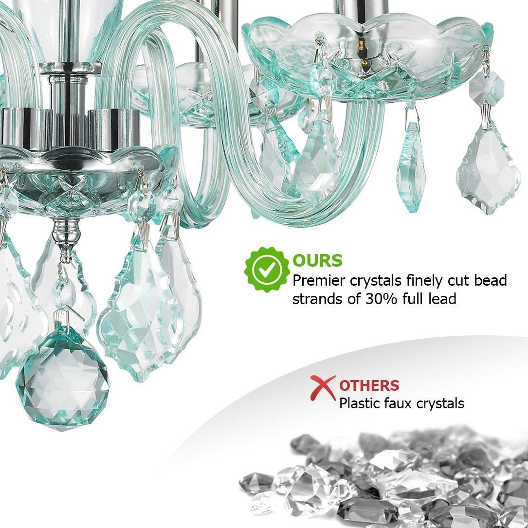 Worldwide Lighting W83100C16-CB Clarion 4 Light Mini Crystal Chandelier, 16 D x 12 H, Chrome Finish and Coral Blue Turquoise