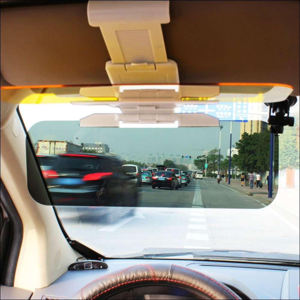 2 in 1 Premium Quality Universal Sunshade and Night Vision Anti-Dazzle Windshield Driving Goggles with Adjustment Button BODECIN Sun Visor Extender Car Day and Night Anti-glare Visor Driving Visor