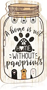 Putuo Decor Dog Wall Decor, Funny Pet Sign for Home, Living Room, Bedroom, 8.3x4.5 Inches Mason Jar Wood Hanging Plaque Sign, Gift for Dog Lover - A Home is Not A Home Without Pawprints