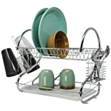 Amazon Price History for:Flyerstoy 2-Tier Stainless Steel Dish Drying Rack Kitchen Cup Tray Cutlery Dish Drainer with Drain Board Sliver2(US STOCK)
