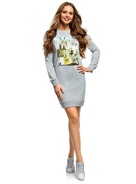 oodji Ultra Mujer Vestido de Estilo Deportivo con Estampado, Gris, ES 34 / XXS