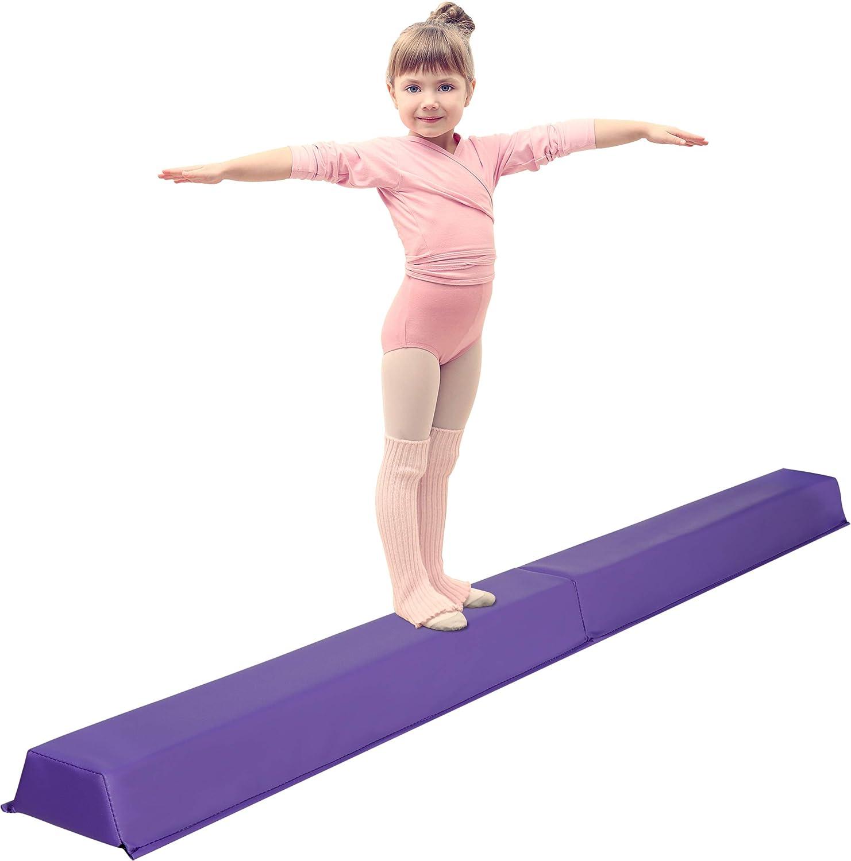 Oteymart 6 FT Folding Gymnastics Beam Extra Firm Balance Beam Bar Anti-Slip Design Foam Low Floor Home Gymnast Equipment for Kids Adults