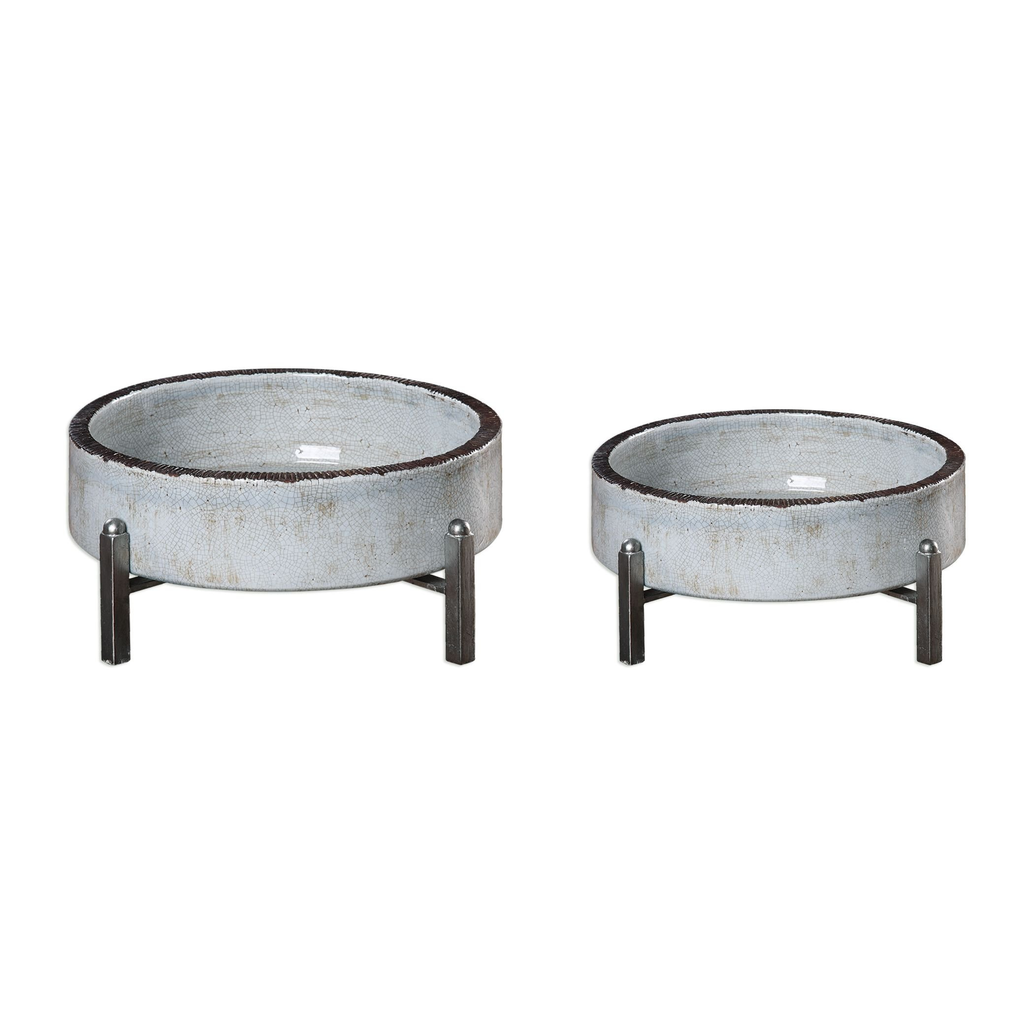 Uttermost 18731 Essie - 16.25'' Bowl (Set of 2), Pale Gray/Antiqued Silver Finish