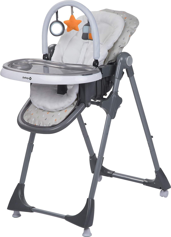 warm grey Safety 1st Hochstuhl Kiwi Tisch mit abnehmbarem Tablett und Spielbogen 3-in-1 Hochstuhl R/ücken- und Fu/ßlehne bis zur Liegeposition verstellbar inkl