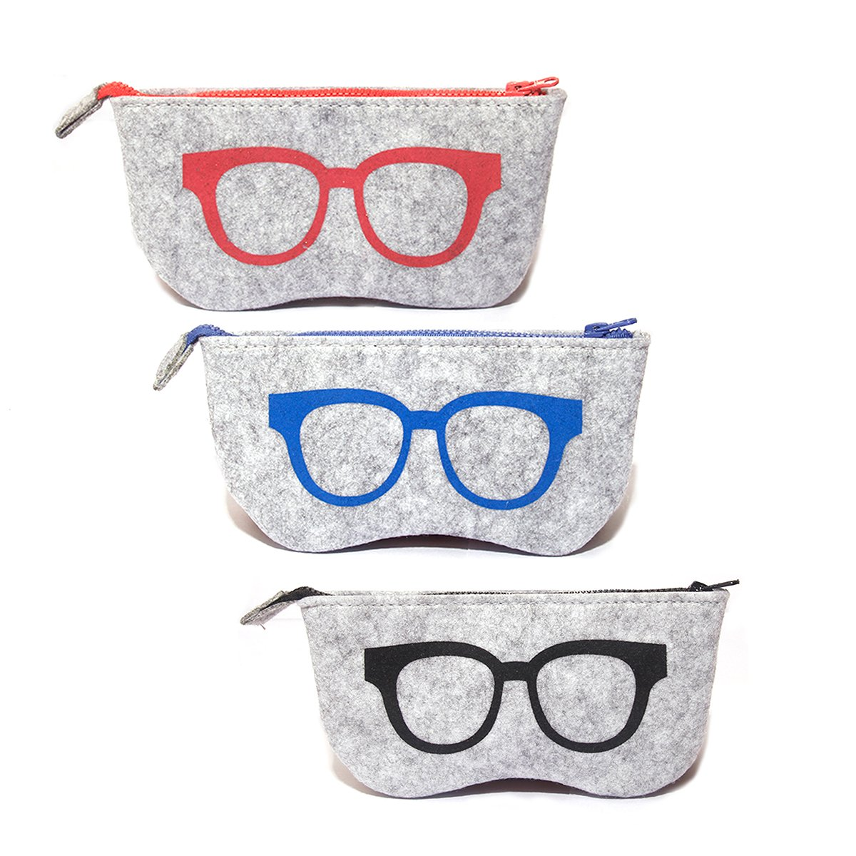 3 Pack Eyeglass Case Pouch, Polersun Portable Soft Felt Sunglasses Case Zipper Ultra Light Glasses Makeup Storage Pouch