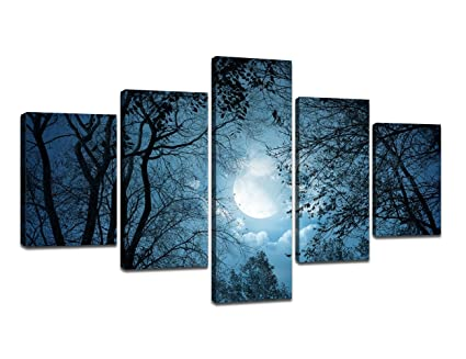 Amazon Com Cold Forest Scenery Dark Blue Home Decoration Silent
