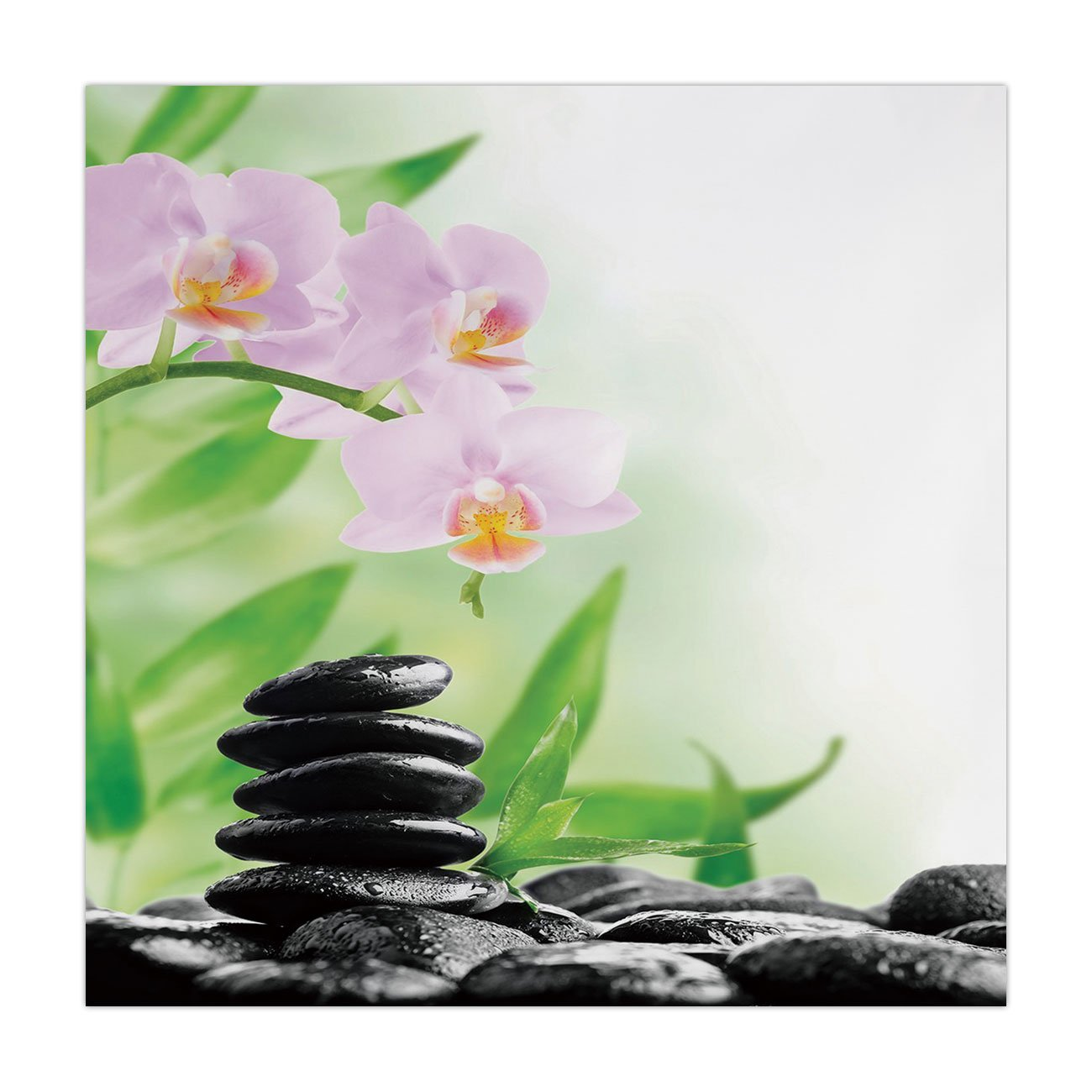 Polyester Square Tablecloth,Spa,Zen Basalt Stones and Orchid with Dew Peaceful Nature Theraphy Massage Meditation Decorative,Black Pink Green,Dining Room Kitchen Picnic Table Cloth Cover,for Outdoor I
