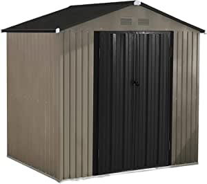 MUPATER 6' x 4' Garden Storage Shed for Outdoor with Foundation, Metal Utility Tool Shed Kit for Backyard with Two Doors and Lock, Grey and Black