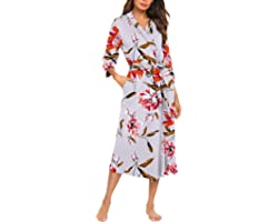 MAXMODA Women Kimono Robes Soft Long Robe Knit Bathrobe Sleepwear V-Neck Ladies Loungewear S-3XL