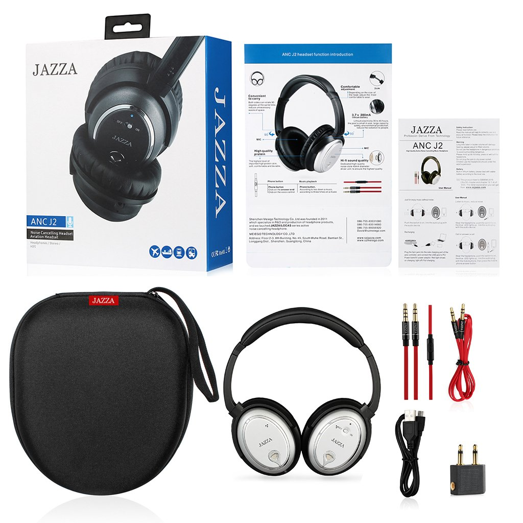 JAZZA ANC-J2 Foldable Stereo Active Noise Cancelling Headphones for Cellphone Smartphone Iphone/ipad/laptop/tablet/computer/MP3/MP4/etc, Strong Bass, Folding and Lightweight Travel Headset (Silver) by JAZZA