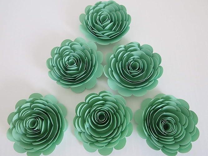 Amazon handmade paper flowers mint green 3 roses set of 6 handmade paper flowers mint green 3quot roses set of 6 baby shower mightylinksfo