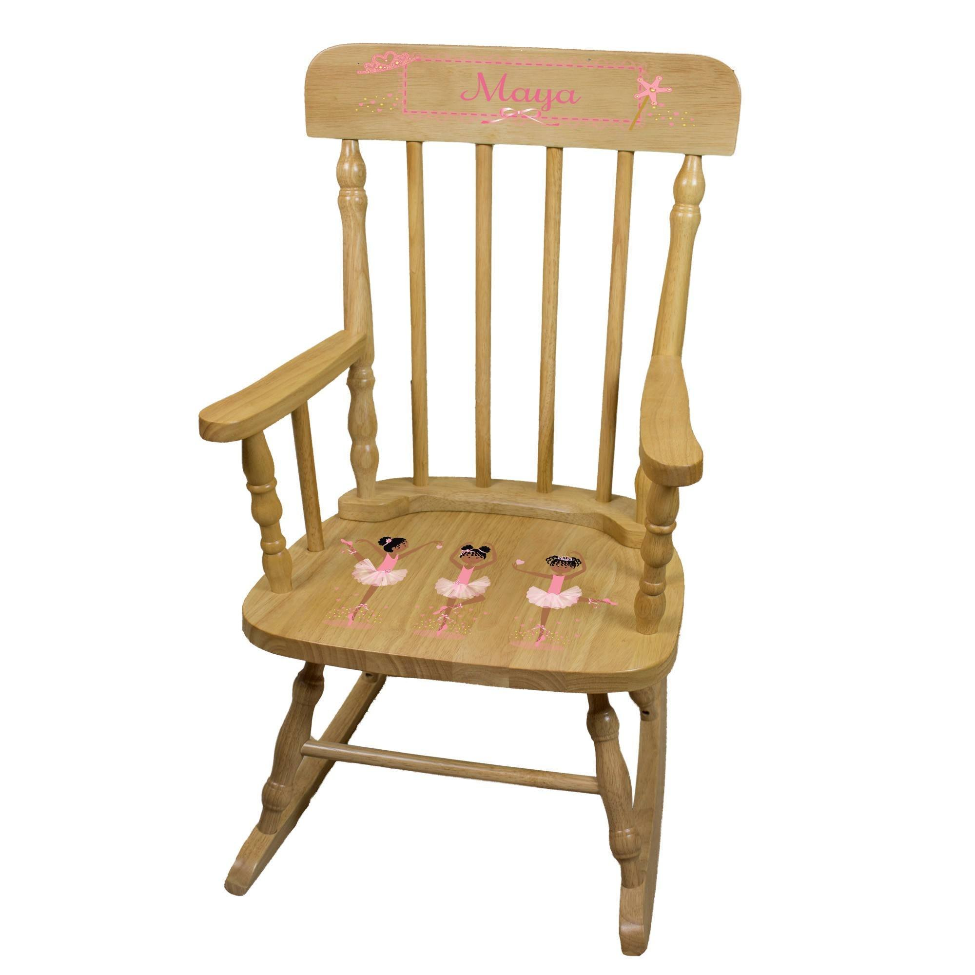 MyBambino Personalized Ballerina African American Natural Wooden Childrens Rocking Chair