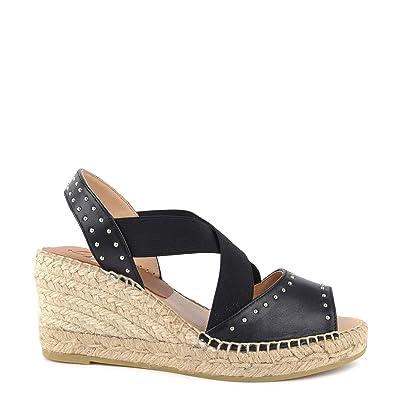 02cf24cc4d3 Kanna Ania Black Studded Wedge Espadrille Sandal  Amazon.co.uk ...