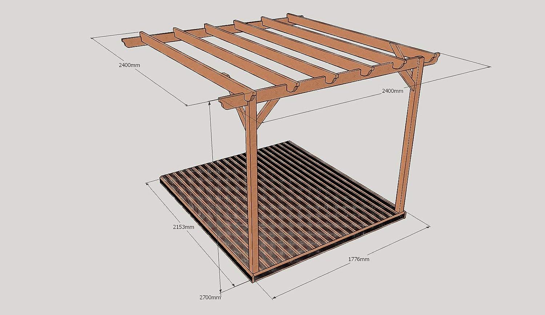 Montado en la pared Kit de Pergola de madera y cubiertas: Amazon ...