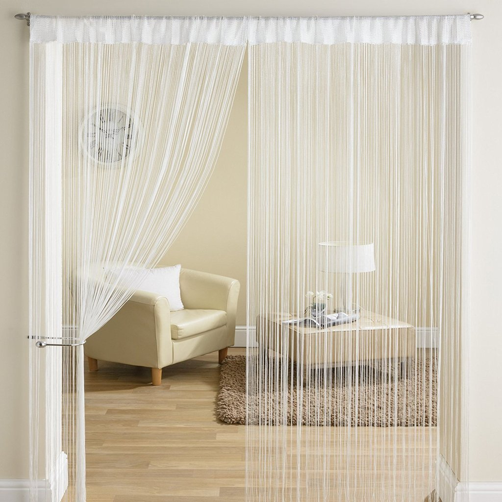 Exporthub Beautiful Polyester Door String Curtain - 7ft, White (Pack of 1)