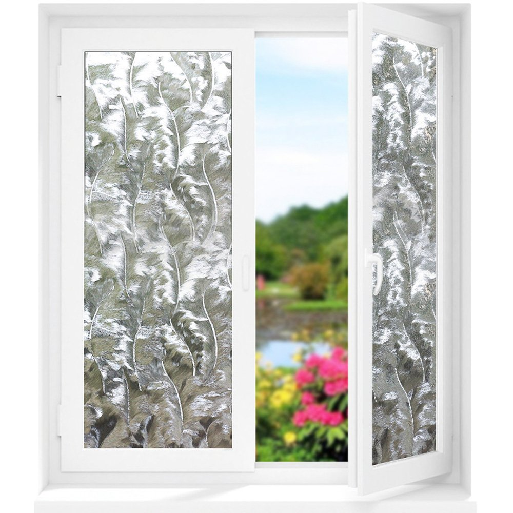 Static Window Films No Glue Frosted Privacy Glass Stickers Non Adhesive Heat Control Anti UV 3D Decorative