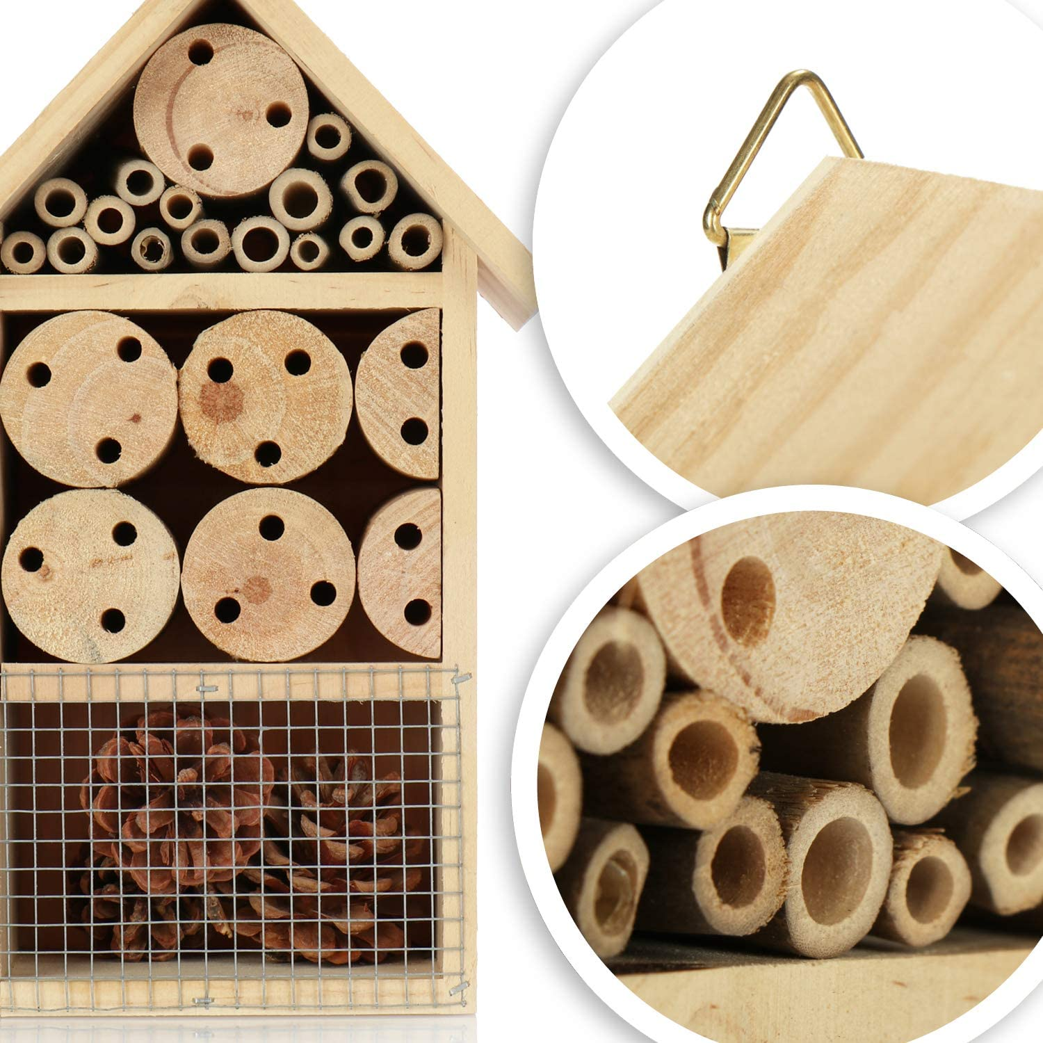 ladybirds Insect house to hang com-four/® Insect hotel made of wood Bee hotel for flying insects 25cm butterflies and flies